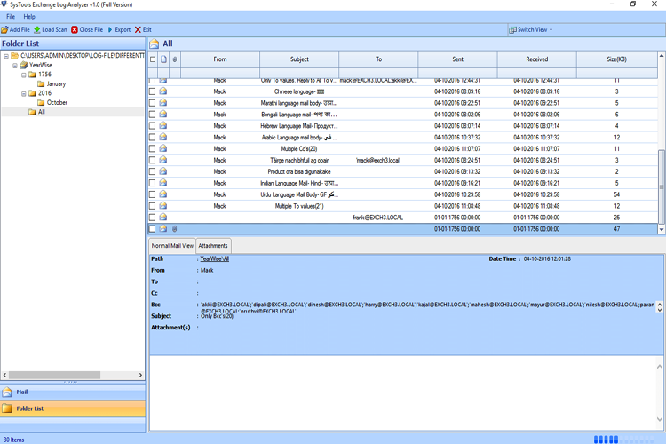 Preview Exchange Log File