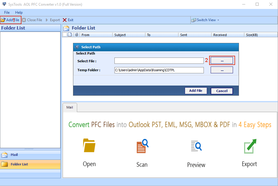 Select PFC File